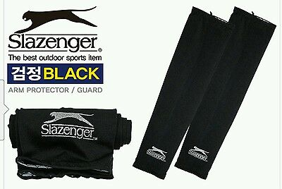 1Pair Slazenger Black Cooling Sports Arm Stretch Sleeves UV Protection (Size S/M