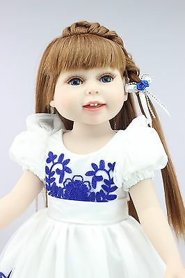 "18""semi-soft vinyl fashion play doll education toy for girls Gift/blue and white"