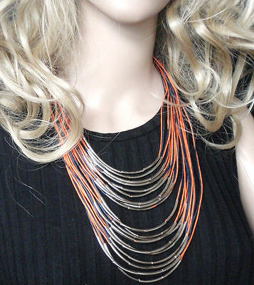 multi-strand statement necklace silver tubes and cord big bold jewellery