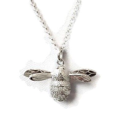 """Bumble Bee Sterling Silver Pendant On Long (30"""") Silver Chain, New. Gift pouch."""