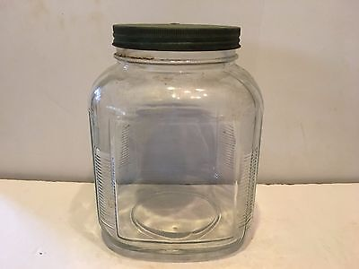 "Vintage Large Country Store Counter Candy Jar or Misc.  8 1/2"" tall metal lid"