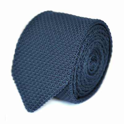 Frederick Thomas Knitted Skinny Navy Blue with Pointed End Mens Tie FT1860