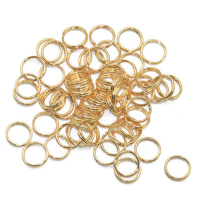 200 Gold Round Keychain Rings Key Chain Double Loop Split Findings Craft 8mm
