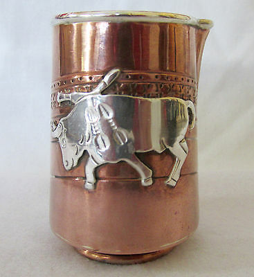 Vintage Victoria Mexican Mixed Copper & Applied Silver Bulls Creamer 1950s