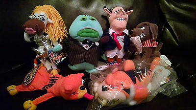 Lot of 6 Meanies Bean Bag Plush Moodonna, Buddy, Codfather, Bull Clinton, Splat