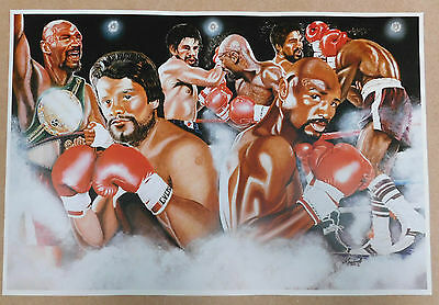 Roberto Duran v Marvin Hagler Caricature Poster/Print/Photo Huge