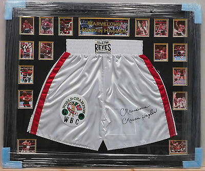 Framed Marvin Hagler Signed Boxing Shorts Marvelous Legend RARE COA PROOF