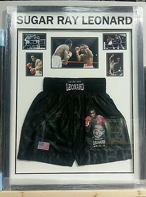 FRAMED Sugar Ray Leonard Hand Signed Boxing Shorts World Champion RARE COA