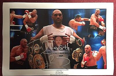 Tyson Fury Hand Signed Photo 16x12 2 Fast Fury World Champion RARE COA