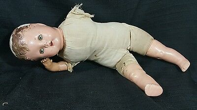"""Vtg COMPOSITION BABY DOLL  17"""" Open Mouth Teeth Creepy Spooky Prop Halloween"""