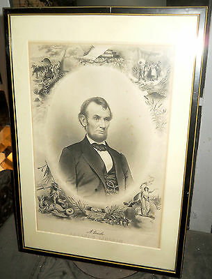 LINCOLN ENGRAVING by J.C. BUTTRE 1864 from a MATTHEW BRADY photo FINE ANTIQUE NR