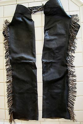"Vintage Mens Brown Leather Fringe Chaps Serval Zipper 30-38"" Waist"
