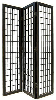 "3 Panel Black Lacquer ""Fuji"" Japanese Screen/Room Divider"