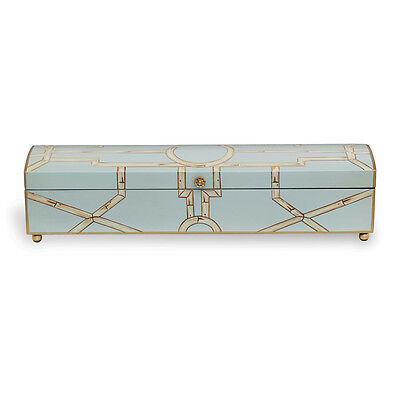 Beautiful Wooden Velvet Lined Scalamandre Maison Baldwin Aqua Box