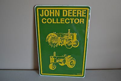 "Used John Deere Tractor Collector 12"" X 18"" Green Metal/tin Sign"