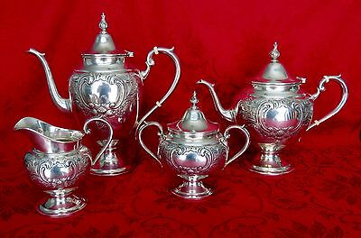 **RARE **Gorham Puritan Hand Chased Sterling Silver Tea Coffee Set .
