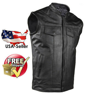 Concealed Carry Mens Leather Biker Vest SOA Motorcycle Outlaw Fast Free Shipping