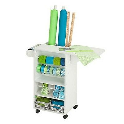 Honey-Can-Do Storage Craft Rolling Cart Organizer in Plastic White Sturdy Frame