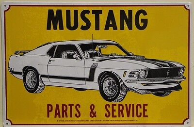 FORD MUSTANG Metal Sign parts and service yellow boss 302 mach     m-10