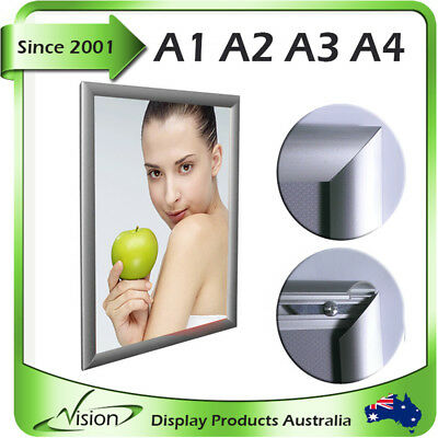 SNAP FRAME A1 A2 A3 A4 Sliver Aluminum Clip Poster Click Picture Signage Mitred