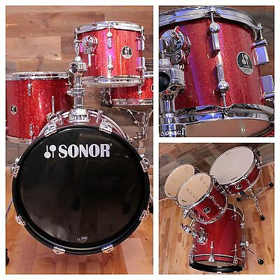 Sonor Special Edition Safari 4 Piece Drum Kit Red Galaxy Sparkle