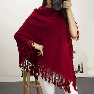 HOT Maternity Knit Cape Fringed Loose Pregnant Women Pullover Cloak Comfy Poncho