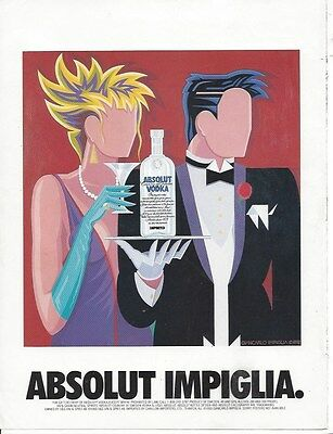 Absolut print ad: ABSOLUT IMPIGLIA ~ excellent condition, framable ~ 1993