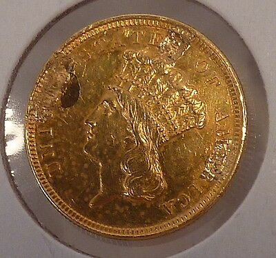 1854 $3.00 Indian Princess Gold, Ex Jewelry Piece AU Details