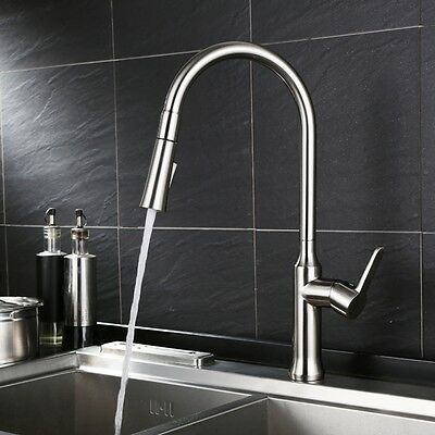 Kitchen Sink Faucet Mixer Tap Single Lever Pull Out Brass Nickel Brushed Modern