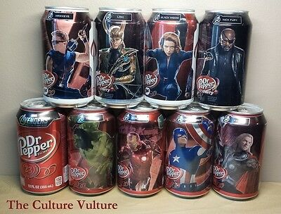 Dr Pepper Can The Avengers - Dr. Pepper Drained Set of 8 + 1 Double