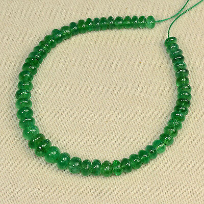 4mm-6mm Zambian EMERALD Smooth Plain Rondelle Beads 6 inch strand