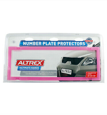 QLD ACT TAS NSW VIC SA WA Number Plate Covers - Standard Pink Clear Pair - 6BCNL
