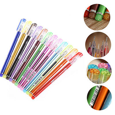 Hot 12Pcs Glitter Color Gel Pens School Supplies Draw Colored Pens Student Gift