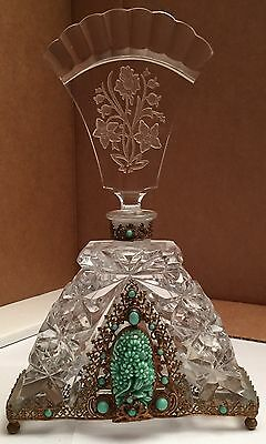 """Extremely Rare Antique 9"""" Tall Cut Crystal Czechoslovakian Perfume Bottle"""