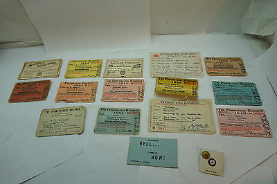 VINTAGE PENNSYLVANIA RAILROAD TRAIN PASSENGER CONDUCTOR PASS 1940s-50s LOT PINS