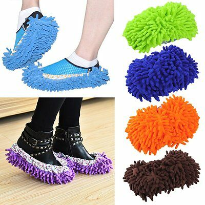 1 Pair Home Mop Sweep Floor Cleaning Duster Cloth Housework Soft Slipper BE