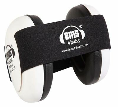 New Em's 4 Bubs Hearing Protection Baby Earmuffs ~ White w/ Black Strap