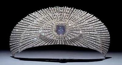 Victorian 23.37 Ct Rose Cut Diamond & Blue Sapphire  925% sterling Sliver Tiara