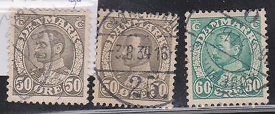 (K4-36) 1933 Denmark mix of 3 stamps 50 ORE x2 &60 ORE King Christian IX