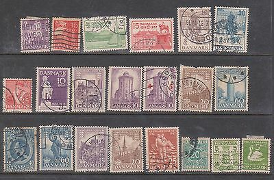 (K4-31) 1934-51 Denmark mix of 35 stamps 5 ORE to 60 ORE