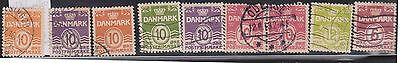 (K4-35 1933 Denmark part 18set 1 ORE to 12 ORE numerals