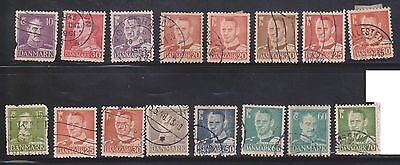 (K4-41) 1948 Denmark mix of 16 stamps 10 ORE to 70 ORE Fred IX