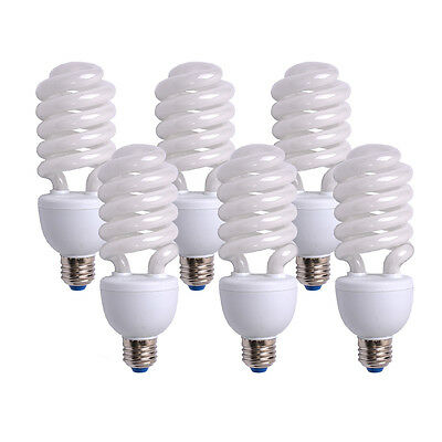 6x 45W 5500K Photo Studio Energy Saving Day Light Bulbs Compact Fluorescent Lamp