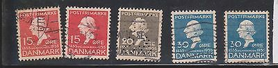 (K4-38) 1935 Denmark 5mix 15 ORE to 30 ORE Hans Christian Anderson