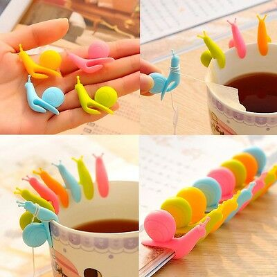 6pcs Silicone Glass Markers Snail Wineglass Label for Hanging Tea Bag