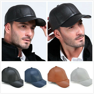 Women Men Leather Baseball Ball Cap Hat Biker Trucker Sports Snapback Adjustable