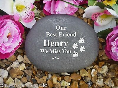 Pet Memorial Personalised Large Pebble (Stone Effect) - Walking Paws.