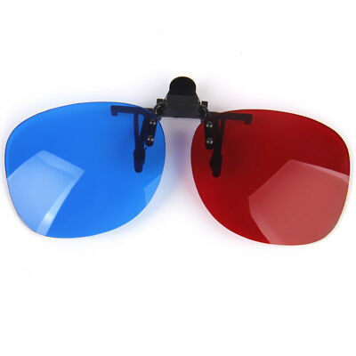 Clip On Red/Blue 3D Glasses Hanging Frame Clip for 3D Viewing Home Movies TV