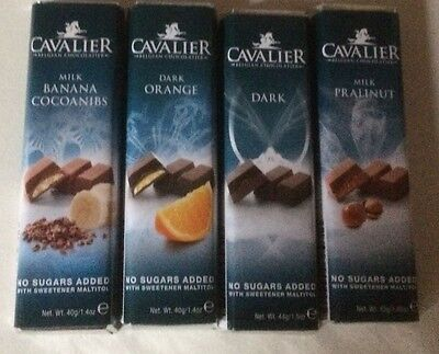 Cavalier Sugar Free 4 Bar  Chocolate Selection Diabetic Inulin Low Carb New