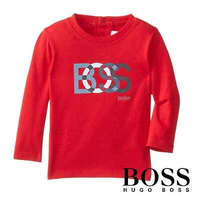 Nwt Hugo Boss Baby Boy's Long Sleeve T-Shirt Kids Toddler 100% Cotton Authentic